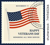 veterans day vector... | Shutterstock .eps vector #744560266