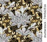 golden textile print. floral... | Shutterstock . vector #744562516