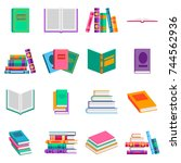 bright  books and reading... | Shutterstock .eps vector #744562936