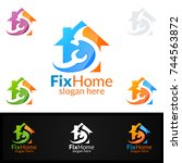 real estate logo  fix home... | Shutterstock .eps vector #744563872