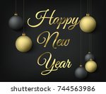 2018 happy new year gold... | Shutterstock .eps vector #744563986