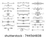 set of hand drawn dividers.... | Shutterstock .eps vector #744564838
