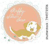 christmas greeting card. funny... | Shutterstock .eps vector #744573556