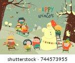 cute kids playing winter games | Shutterstock .eps vector #744573955