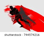 silhouettes of athletes  rugby... | Shutterstock .eps vector #744574216