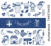 set of happy christmas icons.... | Shutterstock .eps vector #744574435