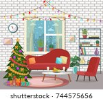christmas living room interior. ... | Shutterstock .eps vector #744575656