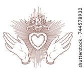 open hands around sacred heart... | Shutterstock .eps vector #744578932