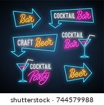 craft beer  coctail bar  party... | Shutterstock .eps vector #744579988