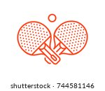set of playing rackets for ping ... | Shutterstock .eps vector #744581146