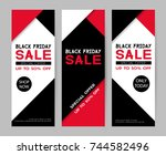set of black friday sale... | Shutterstock . vector #744582496