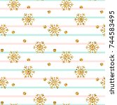 christmas gold snowflake...   Shutterstock .eps vector #744583495