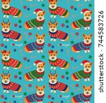 seamless christmas pattern with ... | Shutterstock .eps vector #744583726