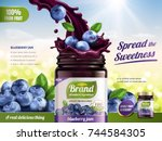 blueberry jam ads  fresh... | Shutterstock .eps vector #744584305