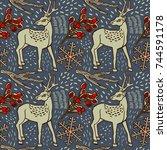 winter background  deer and... | Shutterstock .eps vector #744591178
