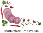 sliced red onion with parsley ... | Shutterstock . vector #744591736