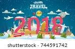 winter travel 2018. travel to... | Shutterstock .eps vector #744591742