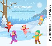 kids playing in winter games on ... | Shutterstock .eps vector #744592198