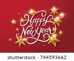 new year with calligraphic text ... | Shutterstock .eps vector #744593662