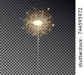 bengal fire. new year sparkler... | Shutterstock .eps vector #744595972