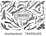 hand drawn branches and twigs.... | Shutterstock .eps vector #744596185