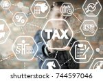 young businessman using... | Shutterstock . vector #744597046