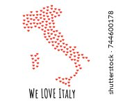 italy map with red hearts ... | Shutterstock .eps vector #744600178
