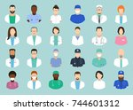 avatar doctor. hospital staff... | Shutterstock .eps vector #744601312