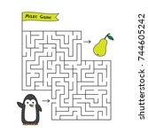 cartoon penguin maze game.... | Shutterstock .eps vector #744605242