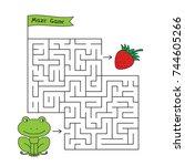cartoon frog maze game. funny... | Shutterstock .eps vector #744605266