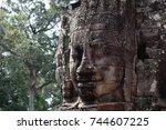 closeup stone face of prasat...   Shutterstock . vector #744607225