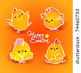 easter card with four chickens  ... | Shutterstock .eps vector #74460733