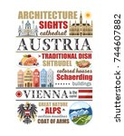 austria text info banner vienna ... | Shutterstock .eps vector #744607882