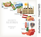 austria background with... | Shutterstock .eps vector #744607885
