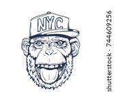 hand drawn smiling monkey with... | Shutterstock .eps vector #744609256