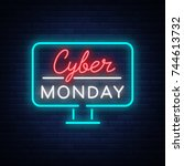 cyber monday  discount sale... | Shutterstock .eps vector #744613732