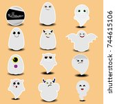 cute sticker collection of... | Shutterstock .eps vector #744615106