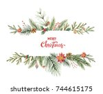 watercolor christmas banner... | Shutterstock . vector #744615175