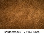 old brown leather background. | Shutterstock . vector #744617326