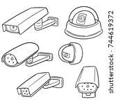 vector set of security camera | Shutterstock .eps vector #744619372