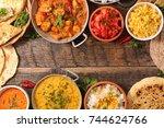 assorted indian food | Shutterstock . vector #744624766