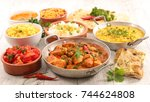 assorted indian curry and dish | Shutterstock . vector #744624808