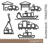 set of transport logistics line ... | Shutterstock . vector #744625702