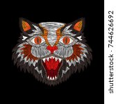 tiger cat fashion embroidery... | Shutterstock .eps vector #744626692