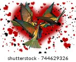 love triangle bird against the... | Shutterstock . vector #744629326
