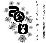 2018 happy new year  simple... | Shutterstock .eps vector #744629722