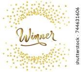 golden splash or glittering... | Shutterstock .eps vector #744631606
