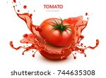 sliced tomato with splashing... | Shutterstock .eps vector #744635308