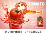 tomato juice ads  metal can... | Shutterstock .eps vector #744635326