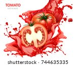 fresh tomato with juice  3d... | Shutterstock .eps vector #744635335